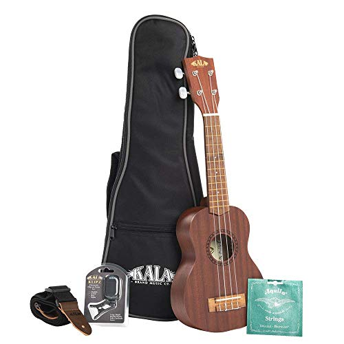 Kala KA-15S Satin Mahogany Soprano Ukulele with Bag, Strap, Strings and Tuner