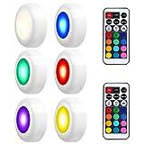LEDGLE RGB Schrankleuchten LED Spot Batteriebetrieben Nachtlicht mit Fernbedienung, 4 Farbmodi, 50lm, 3W, 6er set
