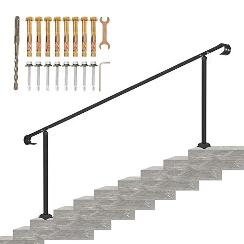 VEVOR Wrought Iron Handrail, Fit 6 or 8 Steps Outdoor Stair Railing, Adjustable Front Porch Hand Rail, Black Transitional Hand railings for Concrete Steps or Wooden Stairs with Installation Kit