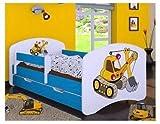 Cuna con colchón y canapé para niños de naka24 azul Bagger Talla:160x80 cm