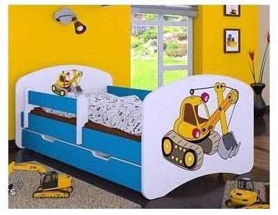 naka24 Kinderbett mit Matratze und Bettkasten für Jungen (160x80 cm, Bagger)