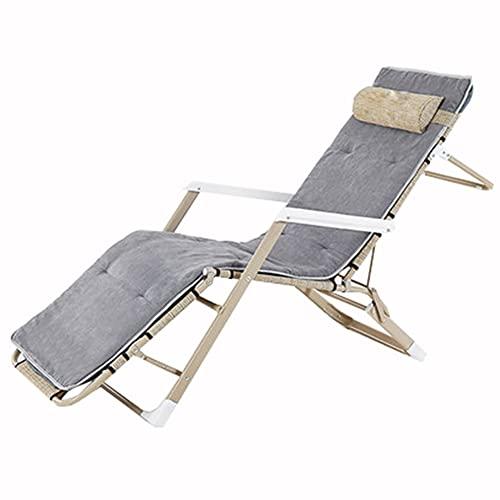 LLLD Stålrör Rack Beach Yard Pool Folding Recliner Justerbar Chaise Lounge Stol Allt väder För Uteplats Pool Däck Camping Utomhus Lounge Uteplats Stolar (Color : Beige)