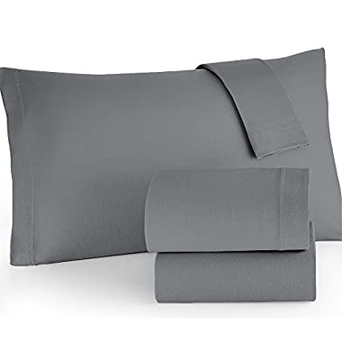 Brielle Easy Care Microfiber Jersey Knit Sheet Set, Queen, Grey