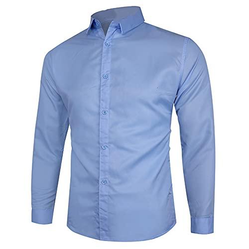 N\P Spring - Camisas de color sólido casual para hombre