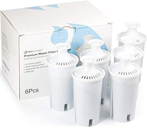Replacement Water Filters 6pc Set Fits Brita Pitchers & Dispensers by Max Strength Pro, 6 Month Filter Supply, BPA Free, Fits Brita Classic, Mavea Classic, Atlantis, Bella, Slim, Soho & More! (6pc)