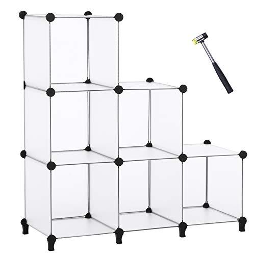ANWBROAD Organizador de almacenamiento de cubo de 6 cubos para bricolaje modular armario estantería organizador de armario estante de almacenamiento martillo de goma caja de libro de plástico LCS006T