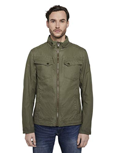 TOM TAILOR Herren Jacken Moderne Canvas-Jacke Olive Night Green,XL