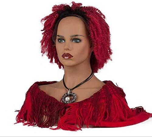 Mannequins de couture reglable Professionnel Femme Mannequin tête et Le Buste Noir Ton de la Peau avec Le Maquillage réaliste Perruque d'affichage de Bijoux Stand Porte vêtement Mannequin