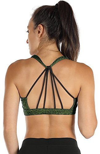 icyzone Padded Strappy Sports Bra Yoga Tops Activewear Workout Clothes for Women(XXL,Green)