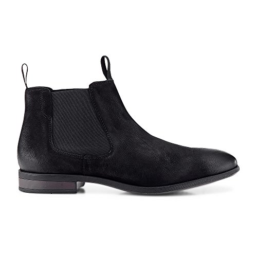 Cox Herren Chelsea Boots aus Leder, lässige Stiefel in Schwarz mit Rutschfester Sohle Schwarz Rauleder 43