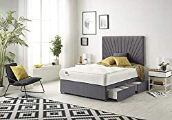 Platinum Divan Base And Headboard Covered With Grey Plush Fabric. Drawers Can Be choose Through Variation Option (2 and 4 Drawers) Tufted Cooltouch Sprung Memory Foam Mattress In White Fabric. Delivery Date Can Be Choose Our All Product As Soon Click...