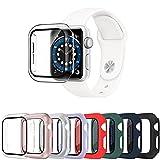 Surundo 8 Pack Apple Watch Funda 38mm Series 3/2/1 con Protector de Pantalla de Vidrio Templado,Cubierta Protectora Completa Resistente a los arañazos para Hombres y Mujeres Accesorios para iWatch