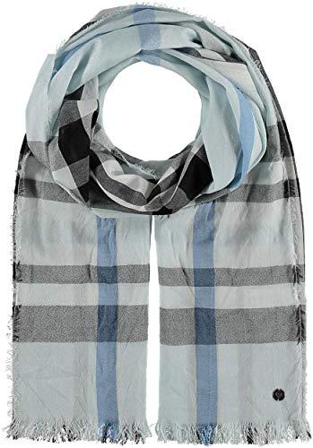 FRAAS Damen-Schal kariert aus Viskose-Mischung - 62 x 180 cm Größe - Modische Stola im Karo-Muster mit Fransen - Perfekt für den Frühling und Sommer Hellblau