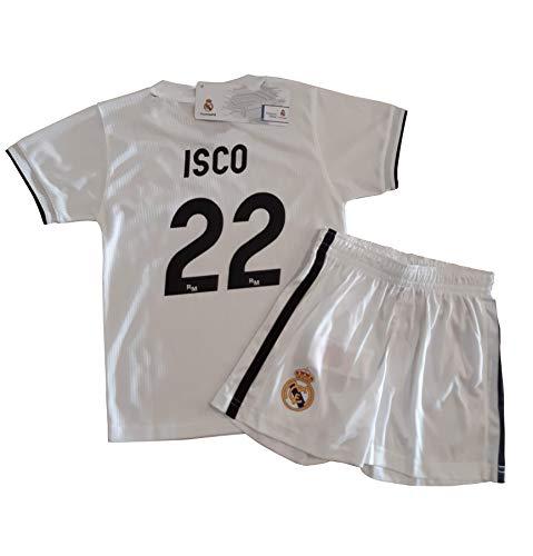 Conjunto Camiseta y Pantalon 1ª Equipación 2018-2019 Real Madrid - Réplica Oficial Licenciado - Dorsal 22 ISCO - NiñoTalla 14 años - Medidas Pecho 49 - Largo Total 67.5 - Largo Manga 17.5 cm.