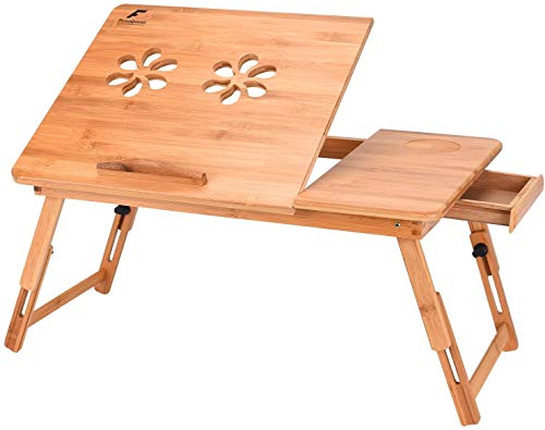 Laptop Desk FreeQueen Portable Multi-use Bamboo Wood Lap Table Tray Adjustable Tilting Drawer