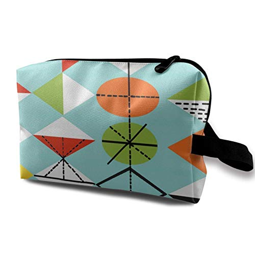 XCNGG Women's Cosmetic Bag Soft Toiletry Bags Multipurpose Handbag Storage Bag Colorful Mid Retro Harlequin Pattern Century Modern Vintage Atomic
