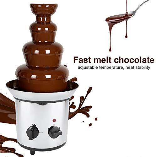 4 Niveles Fuente de Chocolate Fondue Máquina de Acero Inoxidable Enchufe de la UE, 220V, Plateado