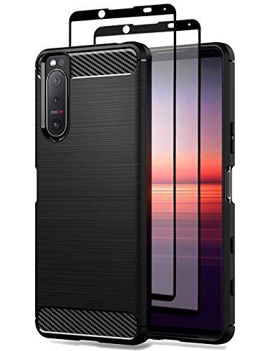 Teayoha hülle für Sony Xperia 5 II hülle, mit Bildschirmschutzfolie aus gehärtetem Glas, Karbonfaser, kratzfest, stoßdämpfend, weiches TPU, Schwarz