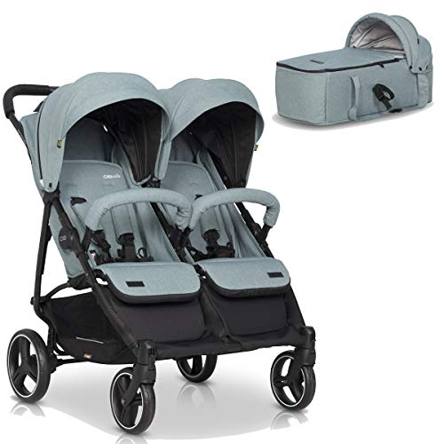 Kinderwagen Zwillinge Mit Baby Tragetasche - Domino Duoset Buggy mit Fußmuff, Kleinkind Leicht geschwisterwagen, Komfortable Verlegeposition, Sonnenschirm, Regenabdeckung und Moskitonetz
