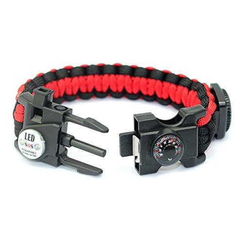 X-xyA Notfall Paracord Armband, Einschließlich Feuerstein, Pfeife, Kompass, Thermometer, LED-Licht, Ist Das Beste Feld Survival-Kit Camping/Angeln,Rot