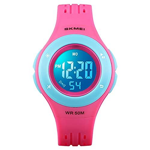 Relojes para Niños Relojes para Niñas y Niños Edades 7-12 Deportes Impermeable Deporte Moda Digital 7 Luces de Colores Reloj de Pulsera para Niños Regalos