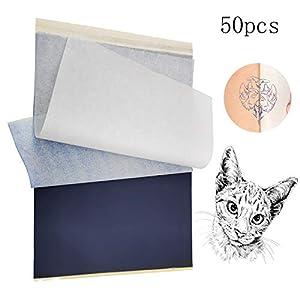 Papel de transferencia de tatuaje, Papel de plantilla térmica de tatuaje temporal A4 Papel de copiadora térmica de carbono imprimible personalizado (50 hojas)