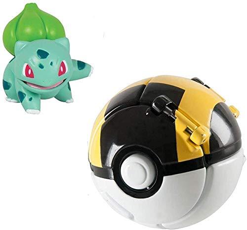 DUDEL Pokémon Clip N Pop Poké Ball Pokémon Ball with Pokemon Figures Pokemon Toys Set for Children (Pikachu and Poké Ball)-Bulbasaur and Ultra Ball