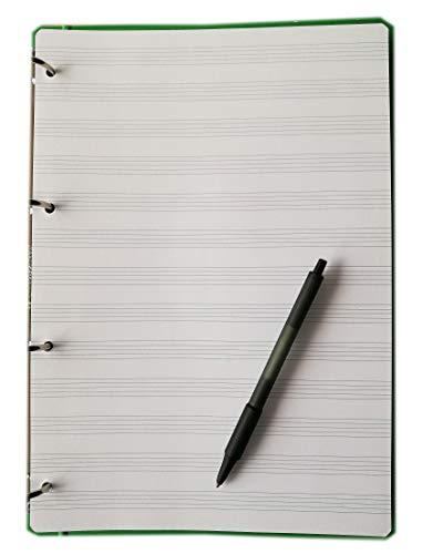 tipome.com 100 Blatt Musiknotenblätter im Format A4 20,5 x 29 cm. mit 4 Löchern, 120 g dickes Fsc-Papier mit 13 Pentagrammen