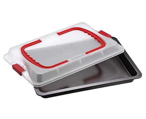 Dr. Oetker Backblech 3in1 mit Transporthaube, Ofenblech zum Backen, Aufbewahren & Transportieren, als Pizza-, Auflauf- & Kuchenblech, Maße: 42 x 29 cm