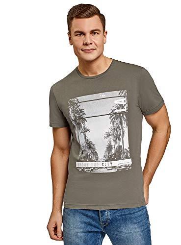 oodji Ultra Hombre Camiseta de Algodón con Estampado, Verde, S