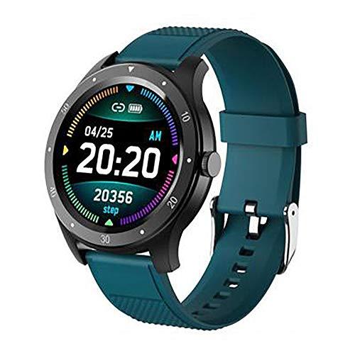 Reloj inteligente, pantalla de 1,3 pulgadas, Bluetooth 4.0 IP67, prueba de salud, impermeable, recordatorio de sedentarismo, análisis del sueño para todos (color: verde)
