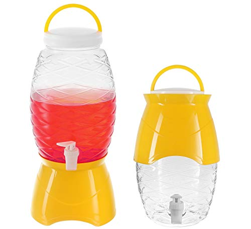 Zilpoo Plastic Party Beverage Dispenser with Stand & Spout 1.18 Gallon (4.5L) Cold Drinks, Lemonade, Ice Tea Drinking Server Jar, BPA Free, Yellow