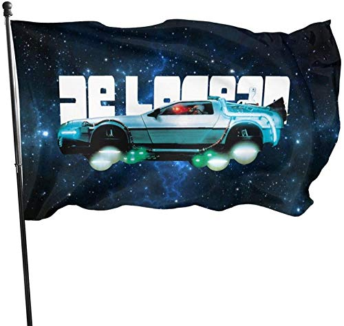 WANGQIN De-Lorean Traveling Through Time Flag Themed Outdoor Outside Decorations Ornament Picks Garden Yard Decor 3 X 5 Ft
