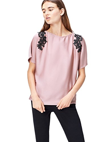 find. Damen Bluse mit Samt-Look und Blumenstickerei, Rosa (Old Rose), 36 (Herstellergröße: Small)