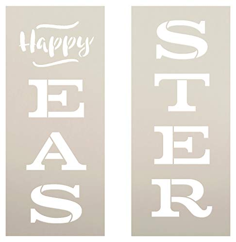 Happy Easter Tall Porch Stencil by StudioR12 | 2 Piece | DIY Large Vertical Spring Welcome Home Decor | Front Door or Entryway | Craft & Paint Wood Leaner Signs | Reusable Mylar Template | Size 4ft
