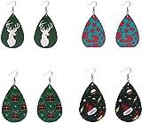 Adornos de Navidad Pendientes de Navidad PU Pendientes de cuero Pendientes Drople Pendientes Santa Claus Decoración del tubo del árbol de Navidad para las mujeres Holiday 4 pares (Patrón 1) 7,5 * 3,8