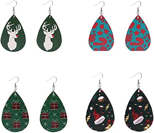 Adornos de Navidad Pendientes de Navidad PU Pendientes de cuero Pendientes Drople Pendientes Santa Claus Decoración del tubo del árbol de Navidad for las mujeres Holiday 4 pares (Patrón 1) 7,5 * 3,8 *
