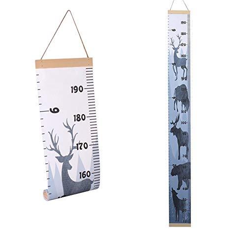 Regla de crecimiento para bebé tabla de altura enrollable para colgar en la pared tabla de medidas decoración de pared con marco de madera para guardería lienzo extraíble tabla de crecimiento