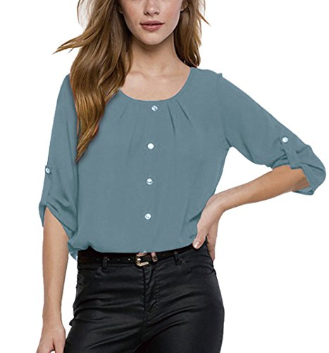 Blusa Gasa Cordón Blusas Manga Larga para Dama Camisas de Mujer Blusones...