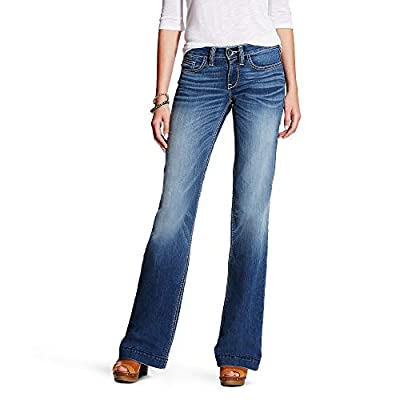 ARIAT Women's Trouser Mid Rise Stretch Baseball Stitch Wide Leg Jean Bonnie Size 31 XL