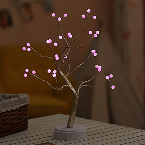 Lámpara LED de árbol perlado estrellado con efecto estrellado, decoración navideña, color rosa, 36 luces de perlado de perla; batería + USB