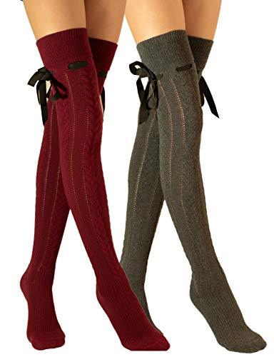 Molton Marley Paquete de 2 calcetines largos extralargos sobre la rodilla, con lazo y cinta, de punto de algodón, para niñas y mujeres, fabricados en Europa