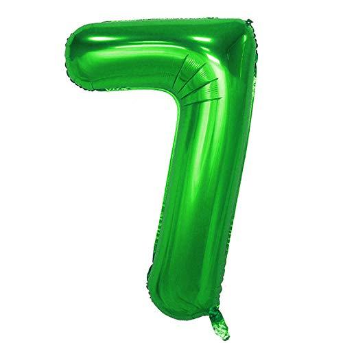 Globos Oblique Unique® con número 0 – 9, para niños, cumpleaños, aniversario, N.º 7