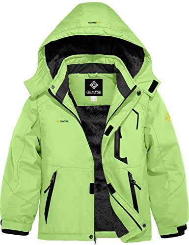 GEMYSE Boy's Waterproof Ski Snow Jacket Hooded Fleece Windproof Winter Jacket (Fluorescent Green,14/16)