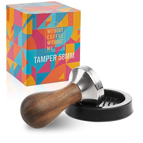 NOUTEN® Premium Espresso Tamper Set 58mm - Kaffeestampfer aus Edelstahl mit einem elegant geformten Echtholzgriff – Espresso Stempel für den vollmundigen Genuss - Passende Tampermatte inklusive