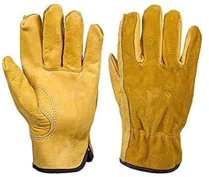 Guanti da lavoro in pelle bovina di qualità superiore, guanti da giardinaggio, impermeabili, a prova di spina e rinforzati, guanti per uomini e donne (lunghezza x larghezza x larghezza 9,4 cm)