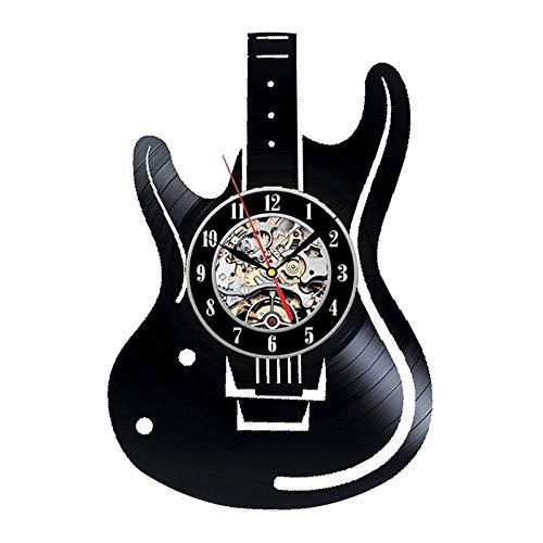 LED Wanduhr Hohl E-gitarre Schallplatte Einzigartige Antike Home Decor Musikinstrumente Hängen Uhr LQCN-Keine Led-12 zoll
