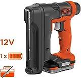BLACK+DECKER BDCT12S1-QW Agrafeuse-Cloueuse sans fil - Chargeur de 80 agrafes - 1840 agrafes en 1 seule batterie - 1 batterie - 100 agrafes 14mm - Livrée en sac de rangement, 12V