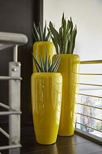 Moderne & Hochwertige Pflanzvase/Pflanzkübel – Fiberglas - Mit Einsatz – Indoor & Outdoor – Wetterbeständig & Frostsicher – Blumenkübel/Pflanzgefäß/Vase/Kübel (Höhe: 75cm, Glänzend Curry)