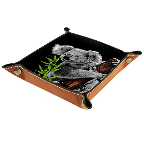 Bandeja de cuero,lindo koala come hojas ,Bandeja de cuero plegable para reloj...